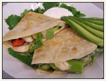 Vegetable and Seafood Quesadillas